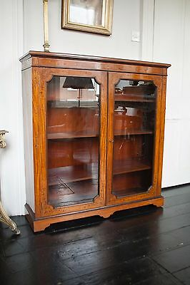 C19 Marquetry Bookcase Cabinet Satinwood library luxury