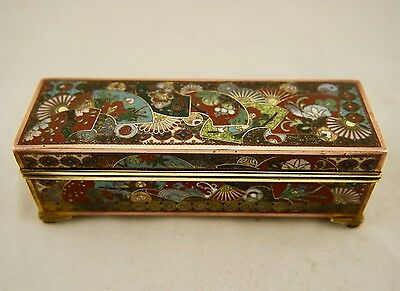 Meiji Japanese cloisonné kyoto-jippo wired enamel floral rectangular lidded box