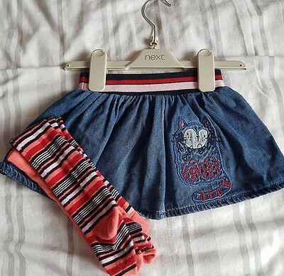 Baby girls next matching skirt and tight 6-9 months