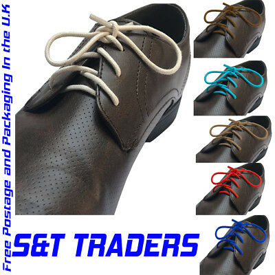 3mm wide WAXED ROUND COTTON LACES BROGUES /SHOE/BOOTS SHOELACES /FORMAL
