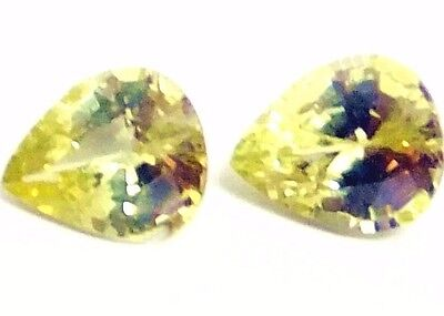 NATURAL EXCEPTIONAL! YELLOW CHRYSOBERYL LOOSE GEMSTONE (2 pieces) PEAR SHAPE