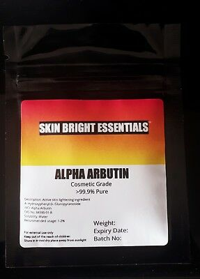 ALPHA ARBUTIN POWDER 10g, >99%, SKIN LIGHTENING, ADD TO CREAM/LOTION/ SERUM UK