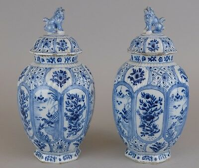 TOP Quality Pair of DUTCH DELFT blue & white vases and Dog Final Lids, 18th C
