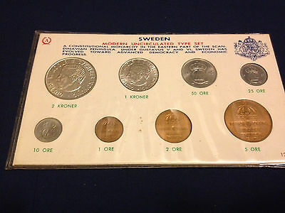 1963-65 Sweden Type Set Mint In ANCO #1283 Holder KM-820-822, 835-37, 826-27