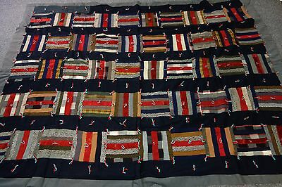 1920's Strip Quilt- Tied- 64x83- Black,Red,Gray- Red Mohair Plush-DRAMATIC -SALE