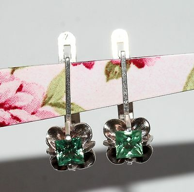 Awesome GREEN stones Earrings Silver 925 USSR Antique