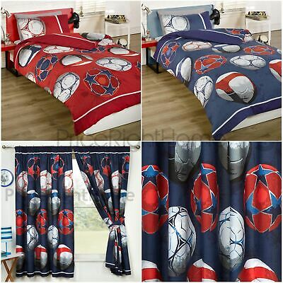 "Football Bedroom Range - Single & Double Duvet Cover Set, Curtains 54"" & 72"""