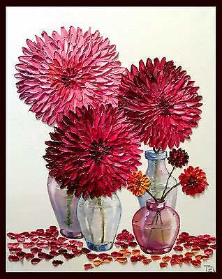 Dahliss in Vases Original Textured oil painting Floral still life 16 x 20 in