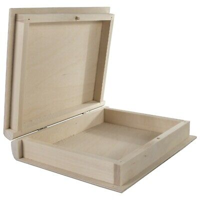 Plain Wooden Book Shaped Lockable Box Case/ Wood Trinket Storage Decoupage Craft