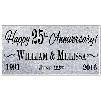 25th Silver Wedding Anniversary Banner Personalized Party Backdrop
