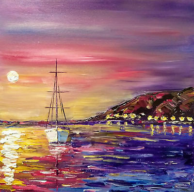 Sea, Sunset, Boats Original Textured oil painting marine landscape 12x12 in