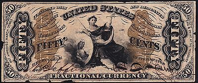 US 50c Fractional Currency FR 1357A Specimen Jeffries/Spinner Autographed XF app