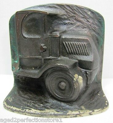 Antique Cast Iron Truck Doorstop high relief ornate detail Mack Ford HD Truck
