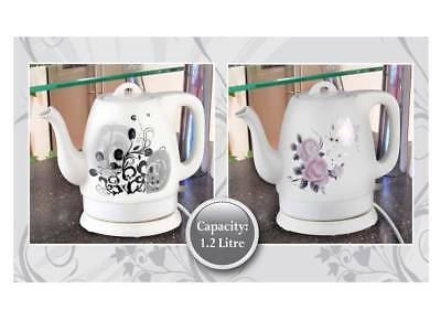 New Traditional Ceramic Electric 1.2 Litre Kettle Flower Print Teapot Coffee