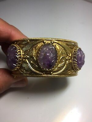 Chinease Carved Amethyst Gold Plated Victorian Bangle Bracelet