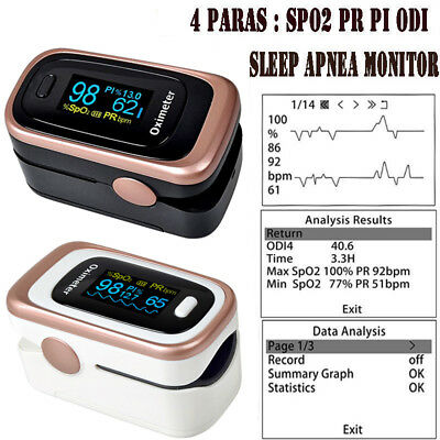 Fingertip Blood Oxygen Oximeter Monitor Sleep Apnea Monitor SPO2 PR PI ODI New
