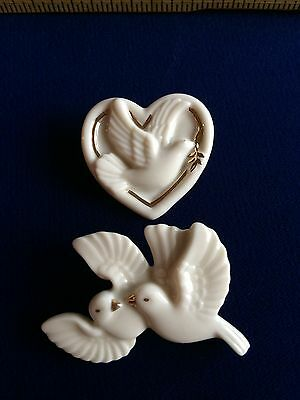 Signed Lenox Porcelain China Single, Double Doves Pin Brooches Lot of 2