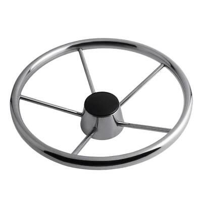 Stainless Steel Marine Yacht Pontoon Boat Steering Wheel 5 Spoke 25 Degree