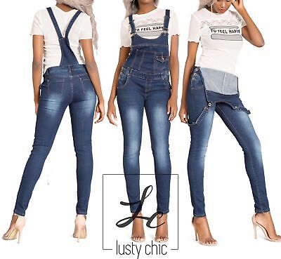 Women Blue Denim Dungaree Jumpsuit Ladies Overall Skinny Jeans Size 6-14