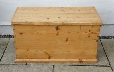 Large late Victorian  pine blanket box or chest, rustic, 4 sided, re-furbished