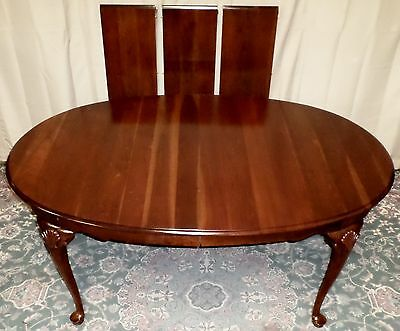 TELL CITY DINING TABLE Cherry Queen Anne Style 3 Ext Leaves with Pads VINTAGE