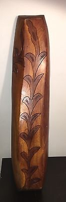 Vintage Carved Trencher Wood Tray Hawaiian Floral Design, Lovely