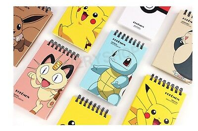 Pokemon Spiral Lined Notebook Note Pad Memo Book- 8 Pieces