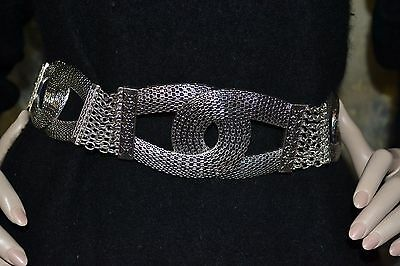 "CHICO'S serpentine HANG chain SILVER statement belt up to 40"" BOHO PUNK  S M L"