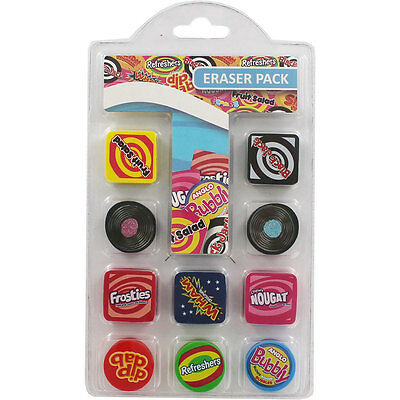 RETRO SWEETS NOVELTY ERASERS (10 PACK) Home School Stationery Party Bag Fillers