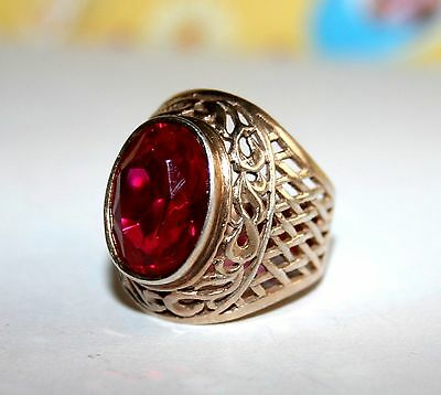 Amazing beauty RUBY stone Size 6-7 Ring Silver 875 USSR Antique