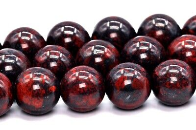 8MM Natural Dark Red Brecciated Jasper Gemstone Beads AAA Round Beads 14""