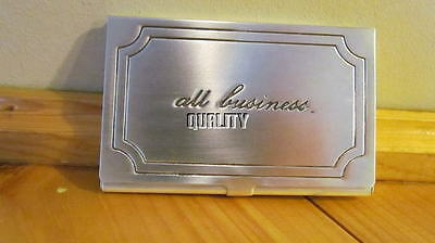 Pottery Barn All Business Sentiment Antique Silver Business Card Holder
