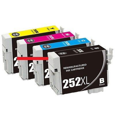4-Pk/Pack Reman 252 252XL T252XL Ink For Epson WF-3620 3640 7610 7620 7110