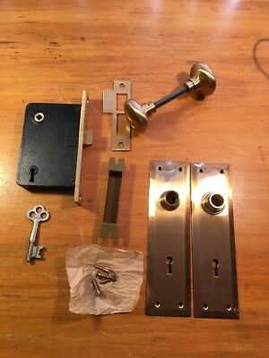 Antique Complete Corbin Brass Door Knob Set w/ Plates and Mortise Lock