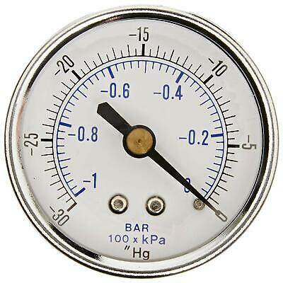 "Dry Pressure Vacuum Gauge -30-0 Hg 1/4 NPT Back Mount For Air Water Oil 2"" Dial"