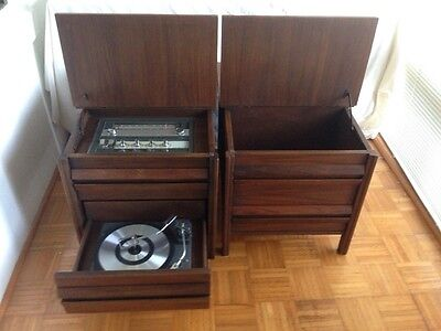 GE End table stereo with matching record storage and extension speaker