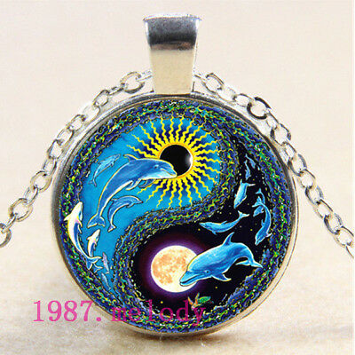 Cabochon Glass necklace Silver charm pendant jewelry(yin yang dolphins)