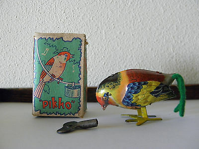 Vintage Tin Litho Wind Up Pecking Bird Made in Japan With Box As Found