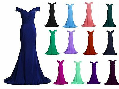 New Long Mermaid Bridesmaid Prom Dress Lace Formal Evening Party Gown Stock 6-22