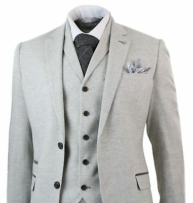 Mens 3 Piece Tweed Light Grey Suit Tailored Fit Vintage Herringbone