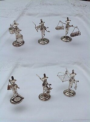 6 X 19c CENTURY CHINA CHINESE STERLING SILVER MINIATURE FARMER MENU HOLDERS 纯银