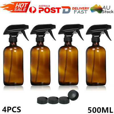 4Pcs 500ml Amber Glass Essential Oil Spray Bottles Empty Mist Sprayer Containers
