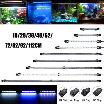 20-130CM Blue White Waterproof Aquarium LED Fish Tank Light Bar Submersible Lamp