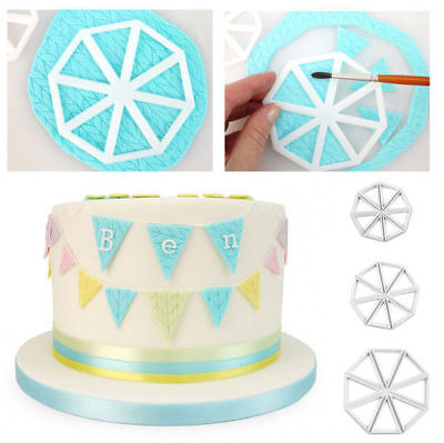 Set of 3 Easy Bunting Cutters Icing Fondant Sugarcraft Mould Cake Decorating DIY