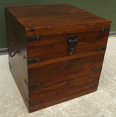 Modern Small Wooden Metal-Bound Trunk Box For Blankets Toys Etc.