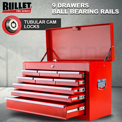 NEW BULLET 9 Drawer Tool Box Chest Organiser Mechanic Garage Storage Toolbox Set