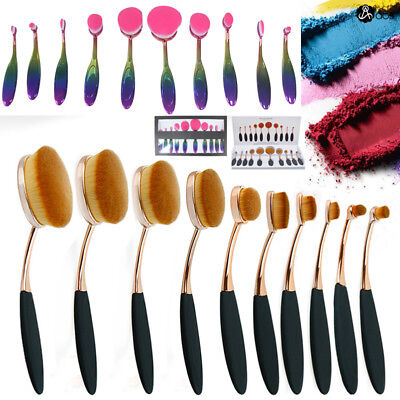 10PCS Pro Beauty Toothbrush Oval Cream Puff Makeup Brushes Set Kit Cosmetic AU