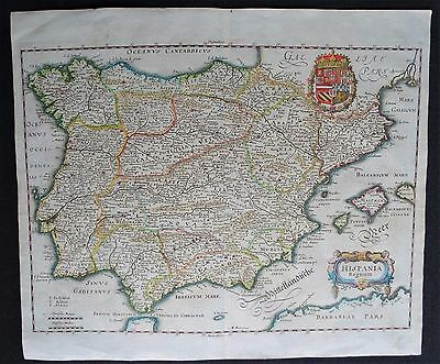 Spain and Portugal, map by Merian (1638), Hispania Regnum