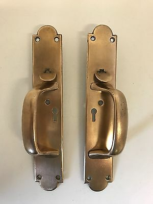 Pair Vintage Solid Brass Pub Shop Door Handles Thumb Latch Suffolk Keyhole