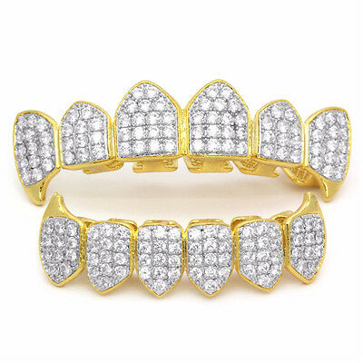 18K Gold Plated High Quality CZ Top & Bottom  Mouth Teeth Grills ON
